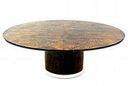 ALDO TURA full Parchment covered dinning table, Italy 1980.