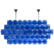 EXCEPTIONAL MURANO MAZZEGA CRYSTAL GLASS COBALT MEDAILLON CHANDELIER 1980s