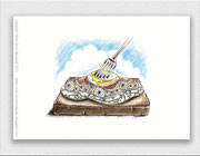 Egg on Toast - Print of original artwork - Digitally coloured Ink drawing.