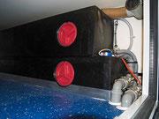 Wassertanks im Stauraum knapp hinter der Hinterachs eingebaut