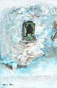 SPRECHENDE TIERE/ Was gibst du mir? Acrylfarbe, Frosch in Polyesterglas, Marmormehl auf Lw. , 60 x 40 cm