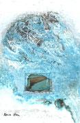 SPRECHENDE TIERE/ Was will sie denn ? Acrylfarbe, Fischflosse in Polyesterglas, Marmormehl auf Lw. 60 x 40 cm