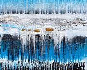 Atlantis 2 , Acrylfarbe, Glas, Marmormehl auf Lw. 80 x 100 cm