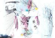 DAPHNE, Acrylfarbe, Holz, Insekt in Polyesterglas, Zeichenstift, Druck auf Lw. 80 x 100cm