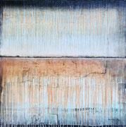 ATLANTIS 1, Acrylfarbe, Sand, Leinenreste auf Lw. 120 x 120 cm