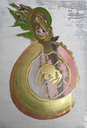 Symbiose III 70 cm x 100 cm Leinwand auf Keilrahmen, Struktur, Spray, Pigmente, fixiert