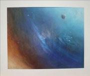 space I 60 cm x 50 cm  Ölkreide auf Karton hinter Glas, fixiert