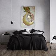 Symbiose 3   70 cm x 100cm Leinwand auf Keilrahmen, Mischtechnik, spezielle Glanzeffekte, fixiert
