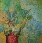 Traum einer Göttin 100 cm x 100 cm Leinwand auf Keilrahmen, Öl, fixiert