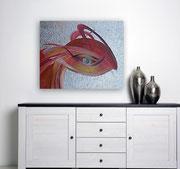 Phönix 80 cm x 100 cm Leinwand auf Keilrahmen, Tempera, Öl, abgeschl. Struktur, Schlagmetall, fxiert