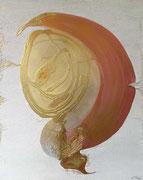 Symbiose II 80 cm x 100 cm Leinwand auf Keilrahmen Struktur, Spray, Pigmente, fixiert