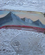 Blick aus einem Lamborgini 50 cm x 60 cm Leinwand auf Keilrahmen Struktur, Schlagmetall, Öl, fixiert