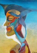 reflection in silence  50 cm x 70 cm Leinwand auf Keilrahmen, Acryl, Öl, fixiert