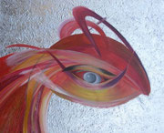 Phönix 80 cm x 100 cm Leinwand auf Keilrahmen Tempera, Öl, abgeschl. Struktur, Schlagmetall