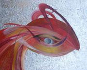 Phönix 80 cm x 100 cm Leinwand auf Keilrahmen Tempera, Öl, abgeschl. Struktur, Schlagmetall (kann im Hoch- und Querformat gehängt werden)