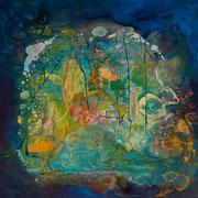 Blauer Planet 100 cm x100 cm Leinwand auf Keilrahmen, Acryl, Öl, fixiert