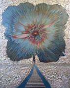Blume des Lebens 100 cm x 80 cm Leinwand auf Keilrahmen, Mischtechnik, fixiert