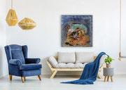 Korallenwelten 100 cm x 100 cm Leinwand auf Keilrahmen, Mischtechnik, fixiert