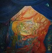 """Zirkus """"Leben"""" nach Freud und Jung 100 cm x 100 cm Leinwand auf Keilrahmen, Öl, fixiert"""