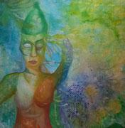 green nation 100 cm x 100 cm Leinwand auf Keilrahmen, Acryl, Öl, fixiert