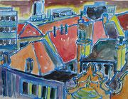 Über den Dächern von Oostende, Aquarell 2011, 24x30cm