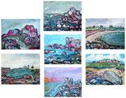 Diverse Gemälde, 2010, je 9x14cm