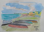 Yport, Strand, Aquarell 2011, 14x20cm, unverkäuflich Privatbesitz