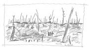 Im Wald, 2009, Bleistiftskizze, 15x25cm