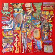 Cuento en Glifos (Conte en Glyphes) 2008, 90x90 cm, technique mixte sur toile. (Collection Privée, Bordeaux)