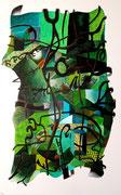 Rebozo, 81x130 cm, 2010, acrylique sur lin. (Collection particulière Pau, 2014)