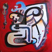 Tletontli («Petit feu» en langue Náhuatl), 100x100 cm, acrylique sur toile, 2010.