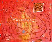 """Picosito... 81x65 cm... huile, acrylique, pigments marocains, quelques herbes de Provence et """"chilito piquin"""" sur toile. 2012."""
