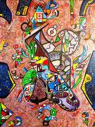 """"""" Rezeeque """" (Gira / Tourner, en langue Zapotèque) 89x116 cm, huile et acrylique sur lin. 2015"""