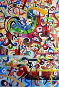 """"""" Paqui """" Etre heureux en lengue Nahuatl. 130x89 cm, acrylique et huile sur lin 2014. (Collection particulière Paris, 2015)"""