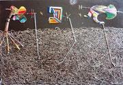 3 Papalotes sobre la tragedia México. 55x38 cm, acrylique et fils sur toile (Cuadro vuelto a la utilizaciôn: doble imagen). 2011