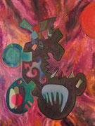 Nezahualcóyotl, 60X60 cm, 2009 acrylique et technique mixte sur toile (Collection Privée, Floirac)