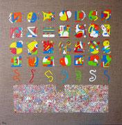 """Tlapalería (Couleur en langue nahuatl c'est """"Tlapalli"""") 80x80 cm acrylique (trapping) sur toile. 2012."""