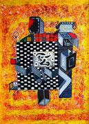 Záô-Chantli -Záô: vivir, en griego antiguo -Chantli: vocablo en Náhuatl que designa hogar o casa. 78x98 cm Acrílico y óleo sobre tela. 2012.