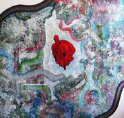 Une arithmétique du Plaisir, 100x100 cm, 2010, technique mixte (trapping) sur toile.