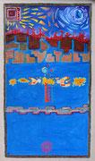 Chinampas 60x100 cm, acrylique sur toile. (Collection Privée, Bordeaux)