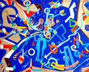 """"""" Lapislázuli """" 81x100 cm acrylique et huile sur toile. 2013"""