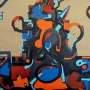 """""""Chatito"""" 80x80 cm, huile et acrylique sur toile 2012. (Collection particulière Talence, 2015)"""