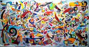 """""""Marie de Gournay"""" 170x90 cm acrylique et huile sur toile 2015."""