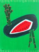 Sandía con cañas (Pastèque avec cannes) 65X50 cm, acrylique sur toile. (Collection Privée, Floirac)