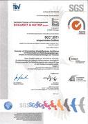 Zertifikat Sicherheitsmanagementsystem nach Sicherheits Certifikat Contraktoren (SCC) Version 2011