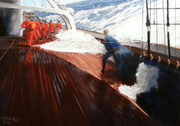 All hands on deck!, Pastel on Pastelcard, 50x70cm, 2013