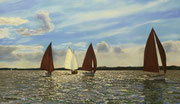 Boats at the Lake Plön, Pastel on Pastelcard, ca. 40x70cm, 2012, Private Collection