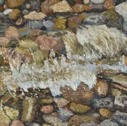 Brecher am Kieselstrand, Pastell auf Sandpapier, ca. 30x30 cm, Private Collection