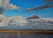 Himmel über dem Ijsselmeer, Pastel, 50x70cm, 2014