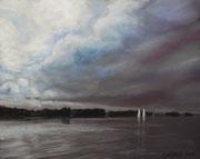 Gewitterwolken über Plöner See, Pastell auf Pastelcard, ca. 40x50cm, 2011